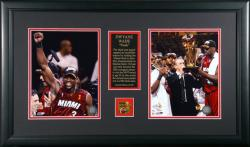 Dwyane Wade Miami Heat 2006 NBA Champions Two 8'' x 10'' Framed Photograph with Medallion & Plate - Mounted Memories