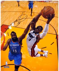 "Dwyane Wade Miami Heat 2012 Finals Autographed 16"" x 20"" Dunk over James Harden Photograph - Mounted Memories"