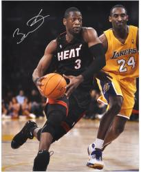 Dwyane Wade Miami Heat Autographed 16'' x 20'' vs. Kobe Bryant Vertical Photograph - Mounted Memories