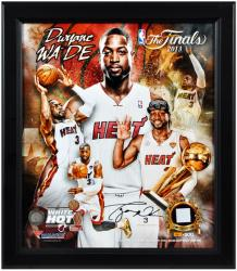 Dwyane Wade Miami Heat 2013 NBA Champions Framed 15x17 Multi-Photo Collage with Game-Used Jersey Piece - L.E. of 500 - Mounted Memories