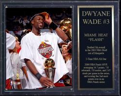 "Miami Heat Dwyane Wade Sublimated 12"" x 15"" Plaque - Mounted Memories"