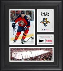 """Dylan Olsen Florida Panthers Framed 15"""" x 17"""" Collage with Piece of Game-Used Puck"""