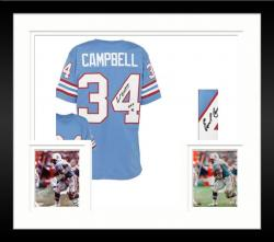 Framed Earl Campbell Houston Oilers Autographed Custom Sky Blue Jersey with HOF 91 Inscription