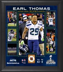Earl Thomas Seattle Seahawks Super Bowl XLVIII Champions Framed 15'' x 17'' Collage with Game-Used Ball - Mounted Memories