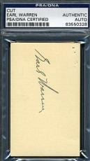 Earl Warren Chief Justice Signed Psa/dna Business Card Cut Authentic Autograph