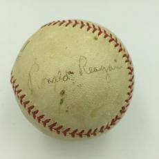 Earliest Known President Ronald Reagan 1952 Signed Baseball With JSA COA