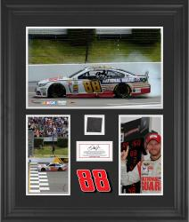 Dale Earnhardt Jr. 2014 Pocono 400 at Pocono Raceway Race Winner Framed 3-Photograph Collage with Race-Used Tire-Limited Edition of 400 - Mounted Memories