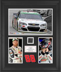 Dale Earnhardt Jr Framed 3-Photograph Collage with Race-Used Tire-Limited Edition of 500 - Mounted Memories