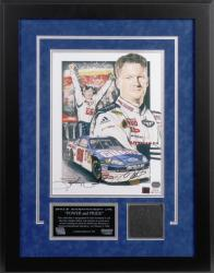 Dale Earnhardt, Jr. Bud Shootout Autographed Lithograph with Piece of Tire - Mounted Memories