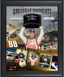 Dale Earnhardt Jr. Framed 16'' x 20'' Film Strip Composite with Piece of Daytona Sign-Limited Edition of 500 - Mounted Memories