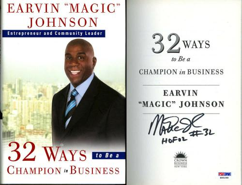 Earvin Magic Johnson SIGNED 32 Ways to be a Champion Lakers PSA/DNA AUTOGRAPHED