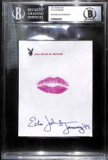 Echo Johnson Signed w Lip Print Kiss Hugh Hefner Playboy Stationary BAS COA 1993