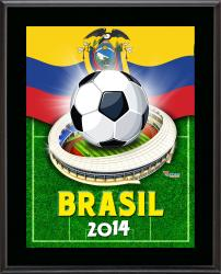 "Ecuador 2014 Brazil Sublimated 10.5"" x 13"" Plaque"