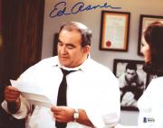 "Ed Asner Autographed 8"" x 10"" Mary Tyler Moore Show Reading Paper Photograph - Beckett COA"
