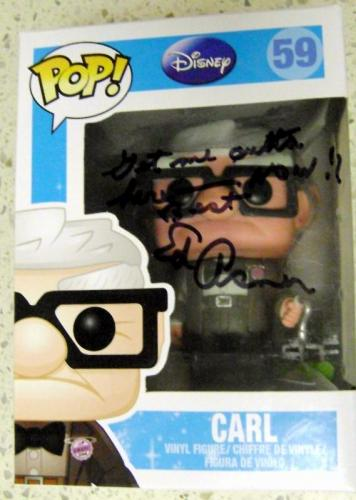 Ed Asner autographed Up Movie Carl Old Man Funko Pop Toy Figure on Box 59 inscribed Get Me Outta Here Now