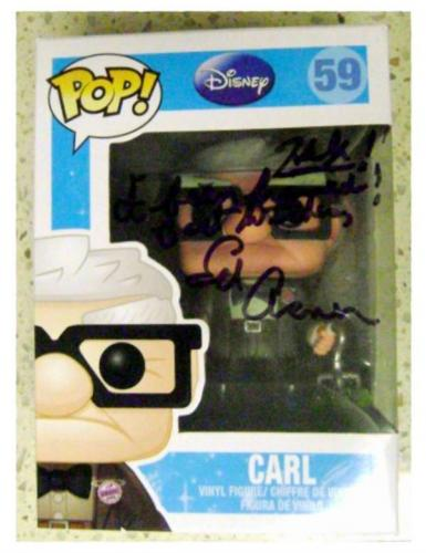 Ed Asner autographed Up Movie Carl Old Man Funko Pop Toy Figure on Box 59 inscribed Help I Been Framed