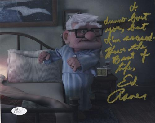 ED ASNER HAND SIGNED 8x10 COLOR PHOTO      AMAZING POSE FROM DISNEY UP       JSA