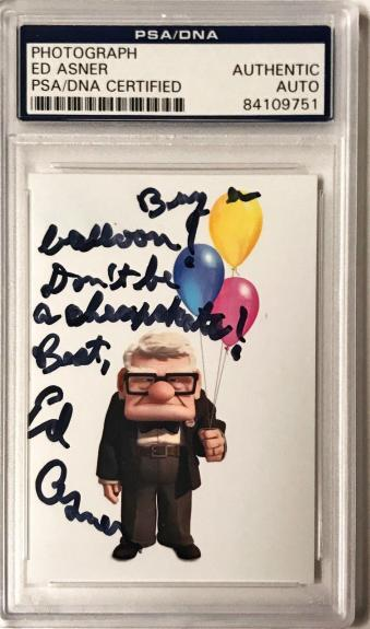 "Ed Asner Pixar UP Movie ""Buy A Ballon"" Signed 2x3 Photo PSA/DNA Slabbed"