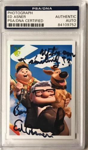 """Ed Asner Pixar UP Movie """"Why am i smiling"""" Signed 2x3 Photo PSA/DNA Slabbed"""