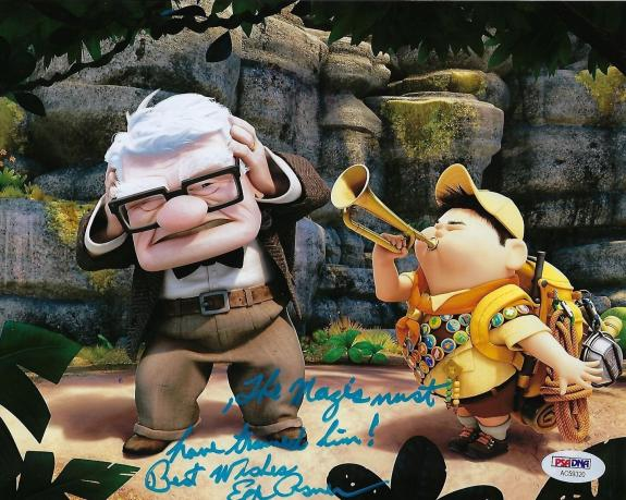 Ed Asner Signed 8x10 Photo *Disney's Up w/ Movie Quote PSA AC59320