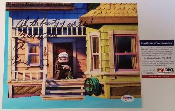 ED ASNER Signed 8x10 Photo + Inscription Disney Pixar's UP Carl ~ PSA/DNA COA