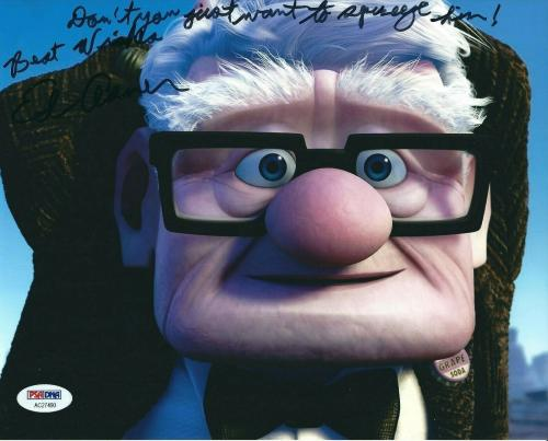 Ed Asner Signed Disney's Up 8x10 Photo With Movie Quote PSA AC27490