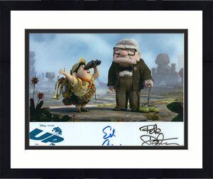 ED ASNER+PETE DOCTER HAND SIGNED 8x10 PHOTO    BOTH SIGNED   DISNEY'S UP    JSA