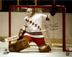 "Ed Giacomin New York Rangers Autographed 16"" x 20"" Photograph with 1971 Vezina Inscription"