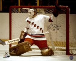 "Ed Giacomin New York Rangers Autographed 16"" x 20"" Photograph with HOF 1987 Inscription"