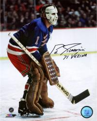 "Ed Giacomin New York Rangers Autographed 8"" x 10"" Photograph with 1971 Vezina Inscription"