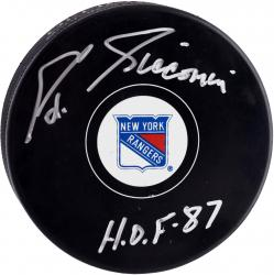 Ed Giacomin New York Rangers Autographed Hockey Puck with HOF 1987 Inscription