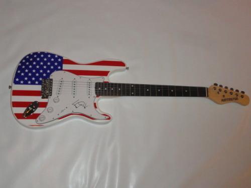 Ed Kowalczyk Signed Usa Flag Electric Guitar Live The Band Legend Proof Jsa Coa