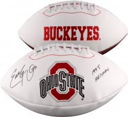 "Eddie George Ohio State Buckeyes Autographed White Panel Football with ""95 Heisman"" Inscription"