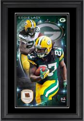 Eddie Lacy Green Bay Packers 10'' x 18'' Vertical Framed Photograph with Piece of Game-Used Football - Limited Edition of 250