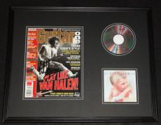 Eddie Van Halen Signed Framed Guitar One Magazine & 1984 CD Display