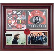"""Eddie Vedder Pearl Jam Framed Autographed 31"""" x 34"""" Lightning Bolt Album Cover Collage - BAS"""