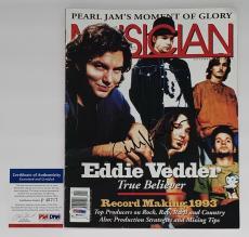 Eddie Vedder Pearl Jam Signed Musician Magazine (november 1993) Psa Coa P45717