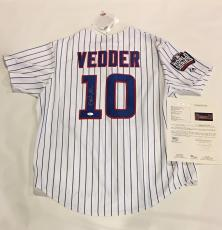 Eddie Vedder Signed #10 Chicago Cubs 2016 World Series Jersey Proof Jsa Loa Ten