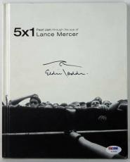 Eddie Vedder Signed 5X1 Lance Mercer Pearl Jam Book W/ Wave Sketch PSA #V10624
