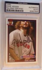 EDDIE VEDDER Signed PEARL JAM Fenway Park Boston RED SOX BASEBALL CARD PSA DNA