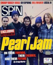 """Eddie Vedder & Stone Gossard Autographed Spin Magazine """"To Jeff"""" PSA V09105"""