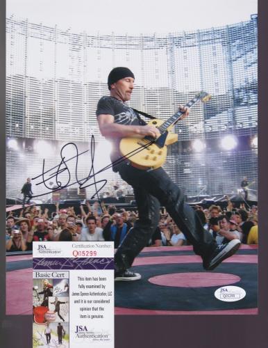 EDGE - U2 - hand signed 8x10 Photo Music Guitar BONO + JSA COA Q05299