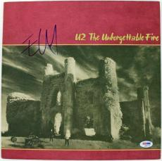 Edge U2 The Unforgettable Fire Signed Album Cover W/ Vinyl PSA/DNA #Q45770