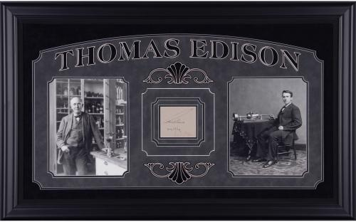 Thomas Edison Framed Autographed Signature Clip