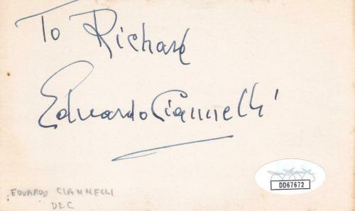 EDUARDO CIANNELLI d 1969 Signed 3x5 Index Card Actor/Gunga Din JSA DD67672