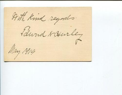 Edward Nash Hurley Federal Trade Commission & Author Signed Autograph