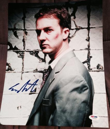 EDWARD NORTON SIGNED AUTOGRAPH FIGHT CLUB RARE POSTER 11x14 PHOTO PSA/DNA Z56660