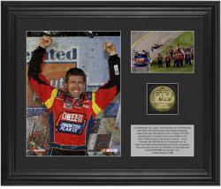 Carl Edwards 2013 Federated Auto Parts 400 Race Winner Framed 2-Photograph Collage with Gold-Plated Coin - Limited Edition of 399 - Mounted Memories