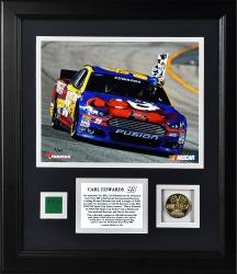 Carl Edwards 2013 Federated Auto Parts 400 Framed 8'' x 10'' Photograph with Gold Coin & Race-Used Flag - Limited Edition of 199 - Mounted Memories