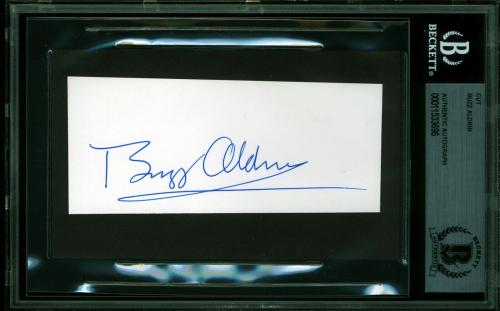 "Edwin ""Buzz"" Aldrin Apollo 11 Signed 1.8x4.5 Cut Signature BAS Slabbed"